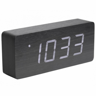 Tube LED Alarm Clock with Date & Temperature - Black Wood