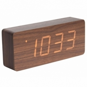 Tube LED Alarm Clock with Date & Temperature - Dark Wood