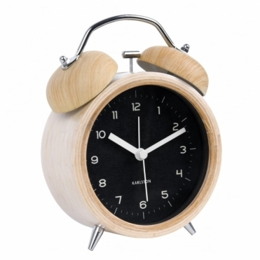 Wood Classic Bell Alarm Clock - Black Dial