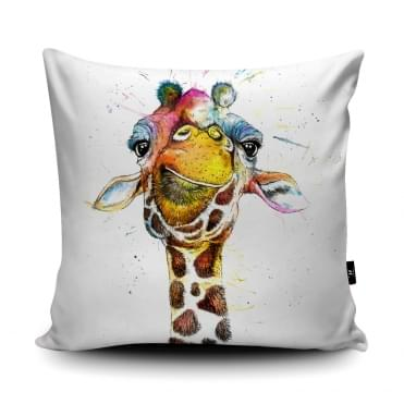 Katherine Williams Rainbow Splatter Giraffe Cushion With Insert