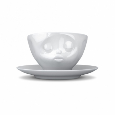 Kissing Face Porcelain Cup & Saucer