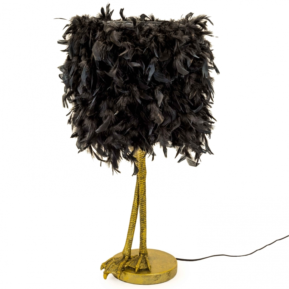 Large Bird Leg Table Lamp With Black Feather Shade Antique Gold