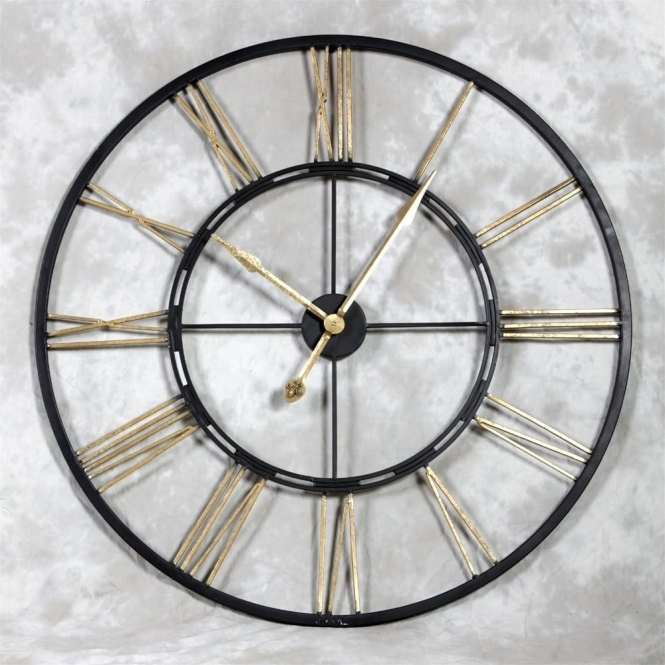 Large Black & Gold Skeleton Iron Wall Clock