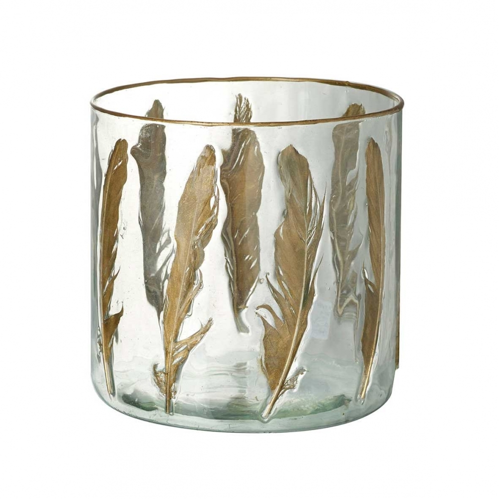 Large Gold Feather Gl Tealight Candle Holder