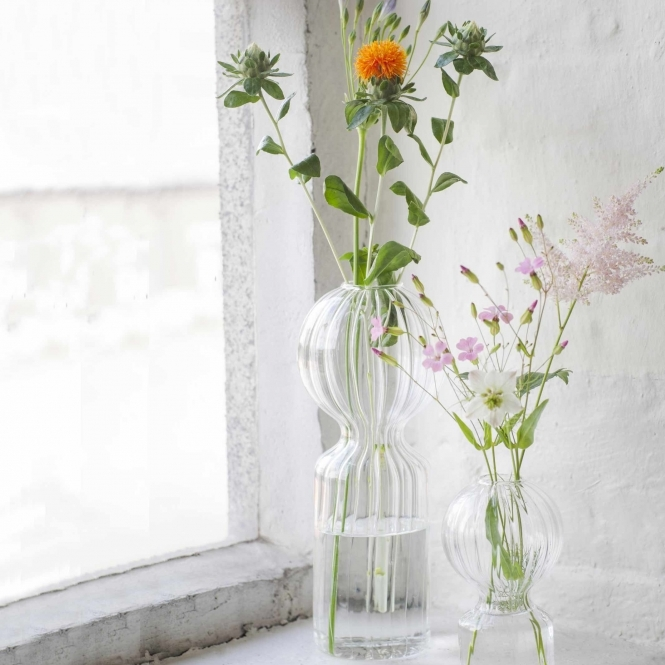 Doll shaped clear glass vase with flowers & Serax Large Iki Doll Glass Vase   Hurn and Hurn
