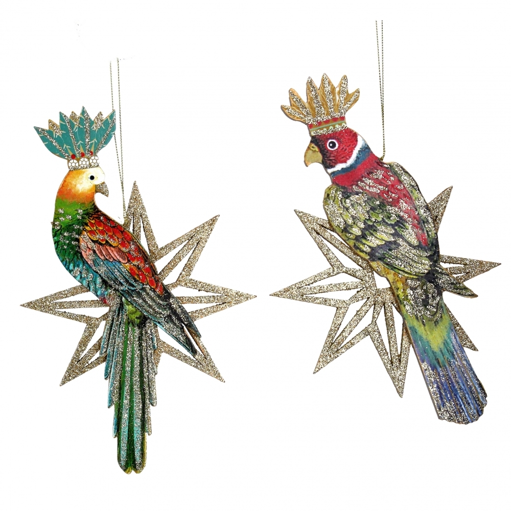 Large Parrot Star Wooden Christmas Ornaments Hanging Decorations Set Of 2