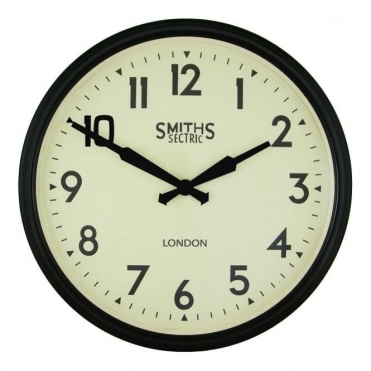 Large Sectric Retro Station Wall Clock Black 50cm