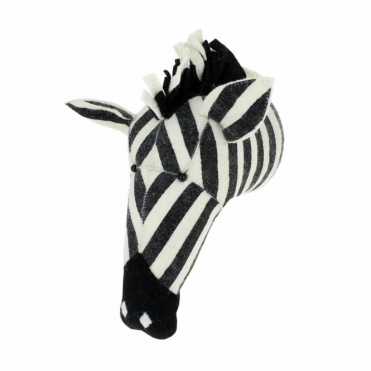 Large Zebra Felt Animal Head Wall Mounted