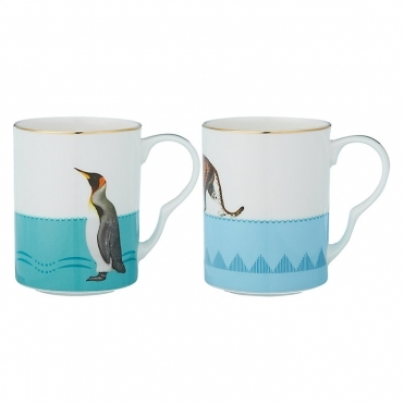 Leopard And Penguin Mugs - Set Of 2