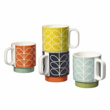 Linear Stem Ceramic Stacking Mugs - Set of 4