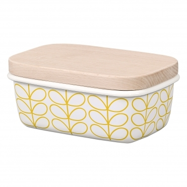 Linear Stem Enamel Butter Dish - Sunshine