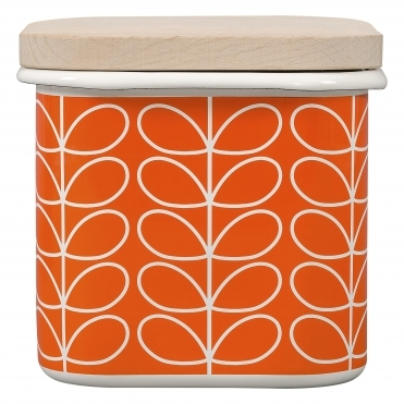 Linear Stem Enamel Storage Jar - Persimmon