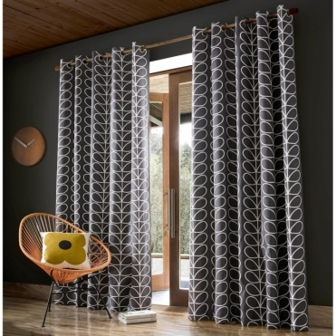 Linear Stem Lined Eyelet Curtains - Charcoal