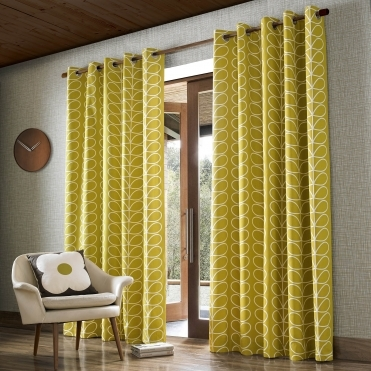 Linear Stem Lined Eyelet Curtains - Dandelion