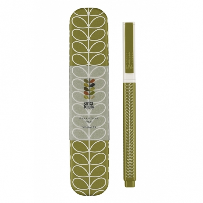 Linear Stem Seagrass Metal Ballpoint Pen in Gift Tin