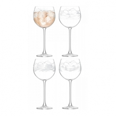 Alpine Balloon Wine Glasses Assorted Scenes - Set of 4