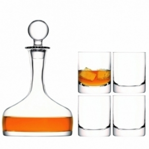 Bar Whisky Set : Decanter and 4 Tumbler Glasses