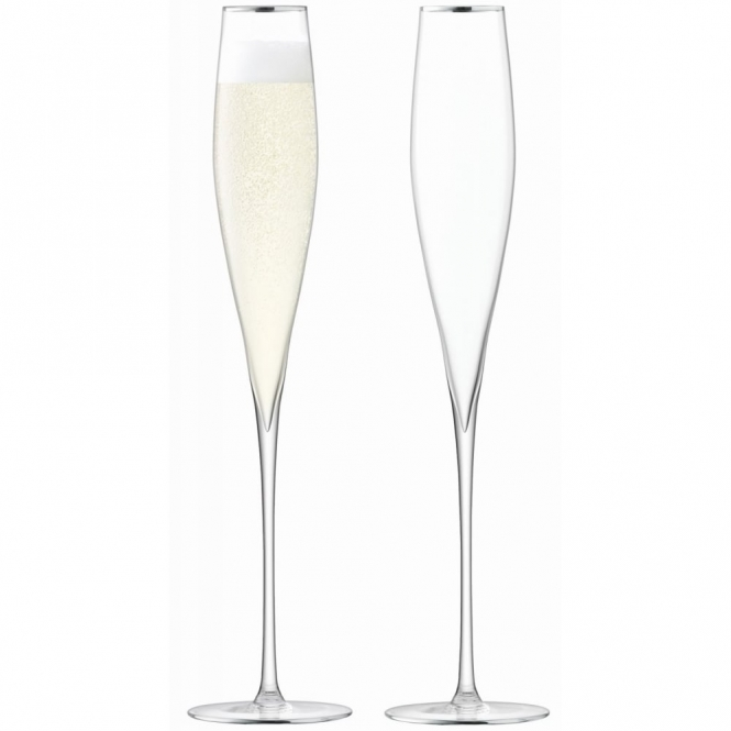 LSA International Celebrate Champagne Flutes Set Of 2 - Platinum