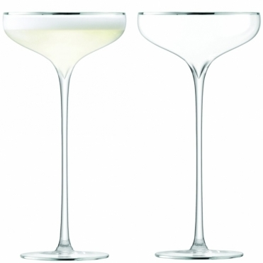 Celebrate Champagne Saucers Set Of 2 - Platinum