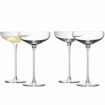 Champagne Saucers Set Of 4 - Festive Gift Box