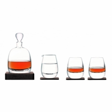 Islay Whisky Set - Decanter, Tumblers, Jug & Walnut Wood Coasters
