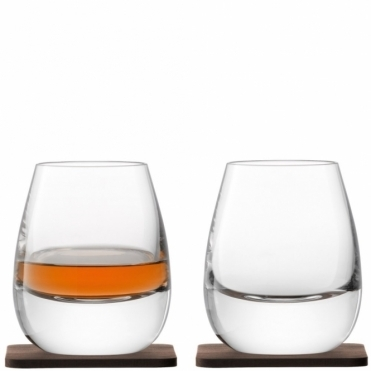 Islay Whisky Tumblers with Walnut Coasters : Set of 2 Glasses