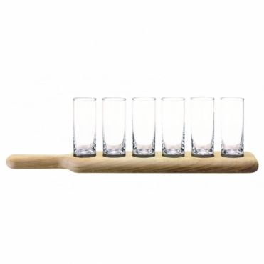 Paddle Vodka Set : Six Shot Glasses & Oak Paddle