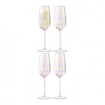 Pearl Champagne Flute Glasses - Set of 4