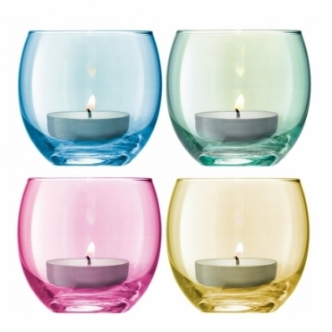 Polka Assorted Pastel Tealight Holders - Set of 4