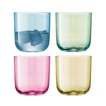Polka Assorted Pastel Tumblers - Set of 4 Glasses
