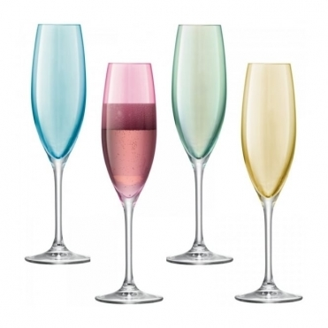 Polka Pastel Champagne Flutes Set of 4 Glasses