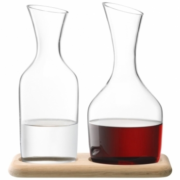 Water & Wine Carafe Set & Oak Base