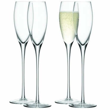 Wine Champagne Flutes - Set of 4 Glasses