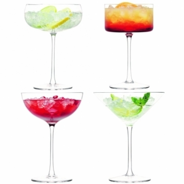 Lulu Champagne/Cocktail Glasses - Set of 4 Assorted Shapes