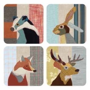 Drink Coasters Mr. Badger, Hare, Fox & Stag - Set of 4
