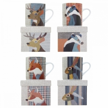 Mugs Set of 4 : Mr. Badger, Hare, Fox & Stag