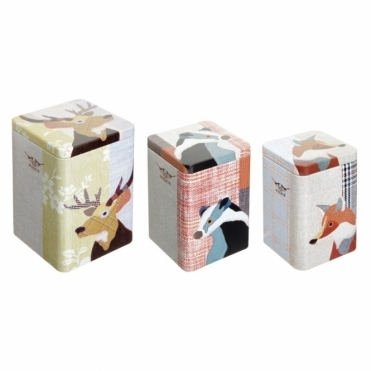 Tall Nesting Storage Tins Set Of 3 : Mr. Stag, Badger & Fox