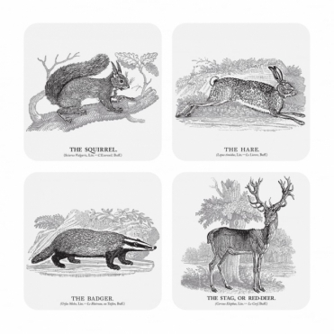 Drink Coasters - Squirrel, Hare, Badger & Stag - Set of 4
