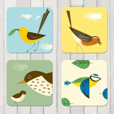 Birdy Drink Coasters Set of 4 : Blue Tit, Robin, Thrush & Wagtail in Gift Box