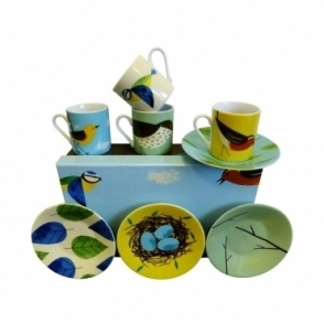 Espresso Cups and Saucers Set of 4 : Robin, Thrush, Wagtail & Blue Tit