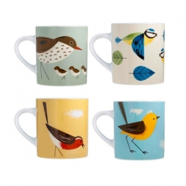 Mugs Set of 4 in Gift Boxes : Blue Tit, Robin, Thrush & Wagtail