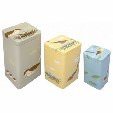 Tall Nesting Storage Tins Set Of 3 : Robin, Thrush & Wagtail