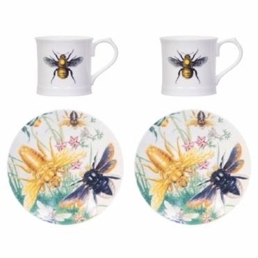 Bee Espresso Cups & Saucers Set of 2 - Beautifully Illustrated Gift Box
