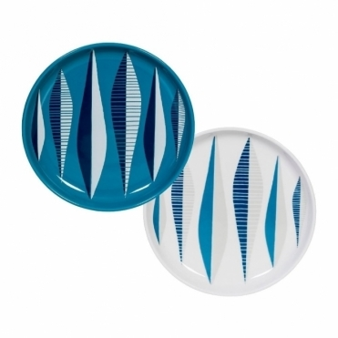 Magpie Form Blue Stoneware Plates - Set of 2