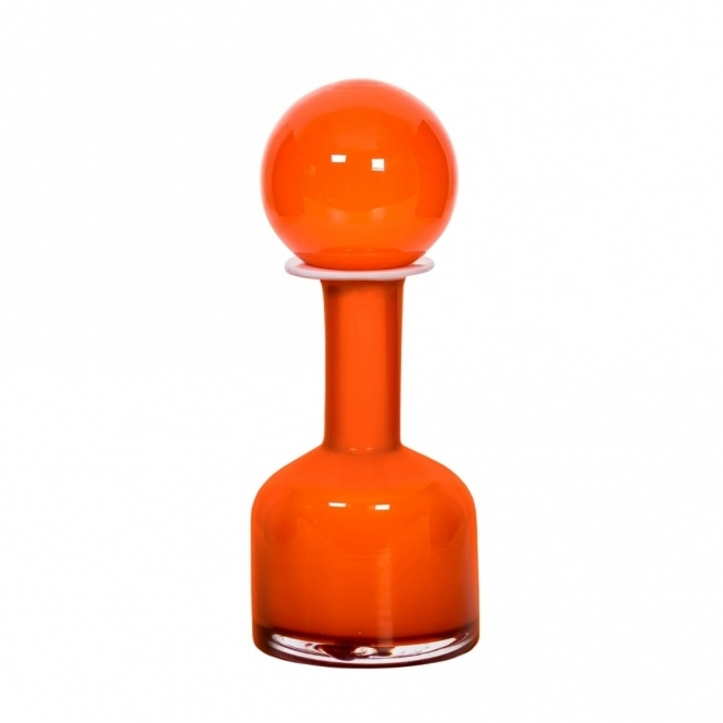Magpie Form Retro Glass Kendall Orange Vase - Scarlett