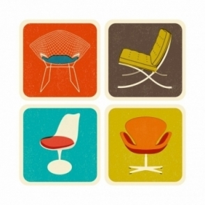 Drink Coasters Set of 4 : Chairs in Gift Box