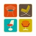 Magpie The Modern Home Drink Coasters Set of 4 : Chairs in Gift Box