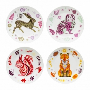 Hare, Owl, Squirrel & Fox Side Plates - Set of 4