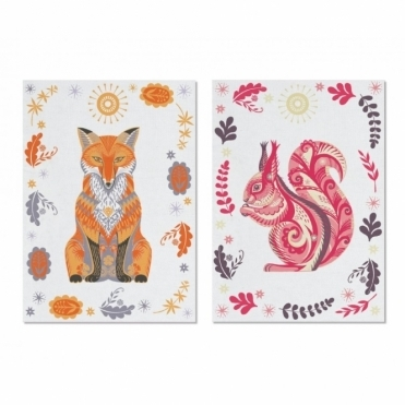 Tea Towels Set of 2 : Fox & Squirrel