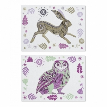Tea Towels Set of 2 : Hare & Owl